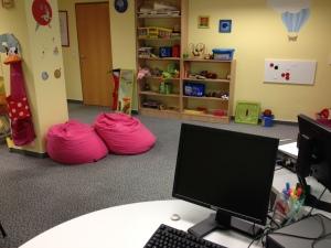 Gyerekbarát iroda a budapesti Telekom székházban